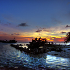 Belize sunset by the coast