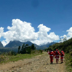 santas in mountains