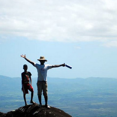 Madagascar volunteer at top of hill