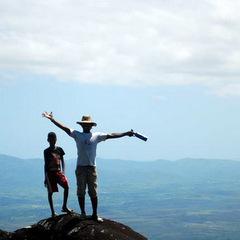 Madagascar volunteer at top of hill