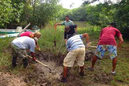 Digging a hicatee pond