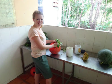 Lucy preparing enrichments for the bears at the centre
