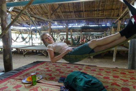 Volunteer chilling in a hammock