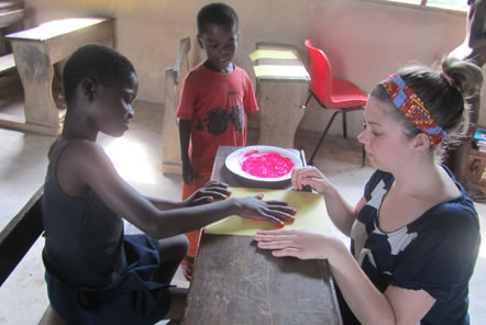 Sarah painting with the children