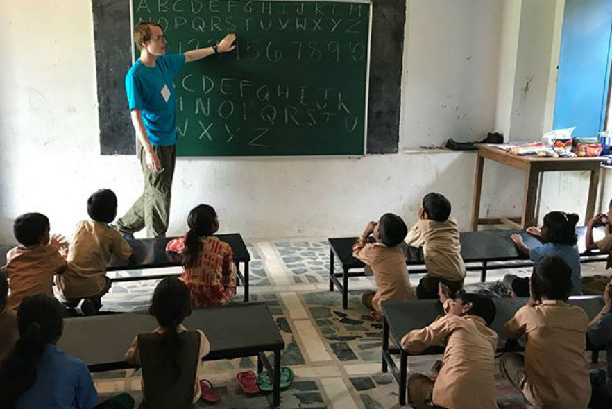 Teaching at a school in Udaipur, India