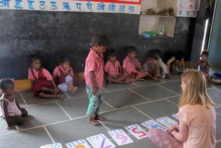 Children at the day care centre learning numbers