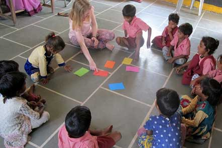 Lucy leading a session at the Child Care project in India