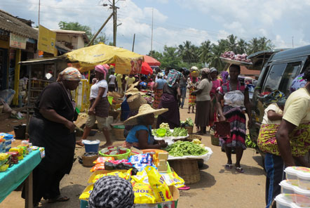 A local market in Ghana