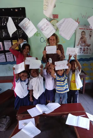 Karen with her class