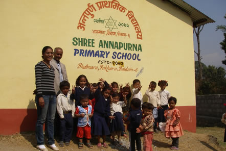 The pupils outside Annapurna Primary School