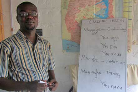 Learning Twi with Master Gyampoh at our projects in Ghana