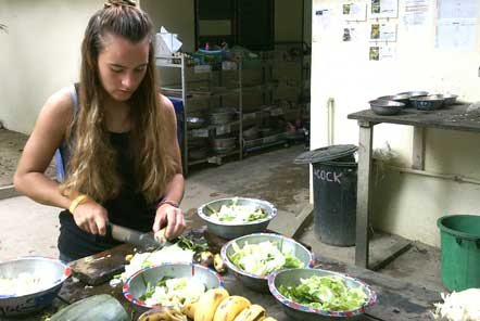 Preparing food for the wildlife at the centre