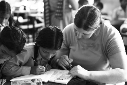Debbie teaching in Nepal