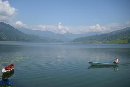 Phewa Lake in Pokhara Nepal