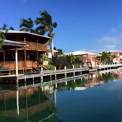 Belize building by water