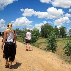 Summer volunteering volunteers walking down road