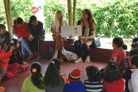Yasmine and Jade teaching in Nepal